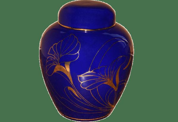 URNE PORCELAINE BLEUE - FLEUR